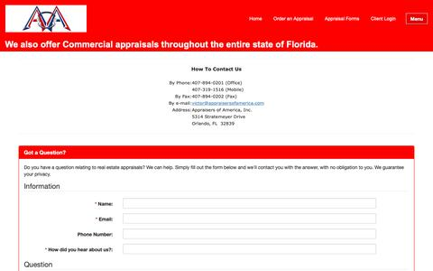 Screenshot of Contact Page appraiserofamerica.com - How to contact Us - Appraiser's of America, Inc. - Contact Us - captured Oct. 4, 2018