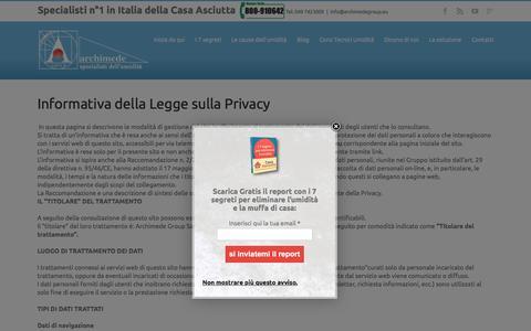 Screenshot of Privacy Page archimedegroup.eu - privacy - Archimede Group specialisti dell'umidità - captured Feb. 6, 2016