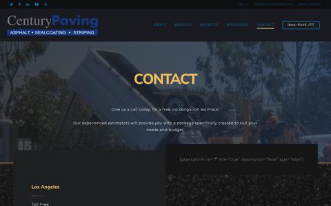 Screenshot of Contact Page paveit.com - Contact Us Today   Century Paving - captured Sept. 27, 2018
