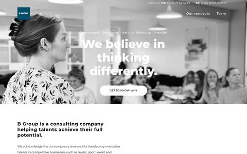 Screenshot of Home Page b-group.dk - B GROUP | B Group is a conglomerate made up of four core business sectors. We're involved in a wide range of activities in the learning, consulting, entertainment, fashion and leisure industries. - captured Nov. 9, 2018