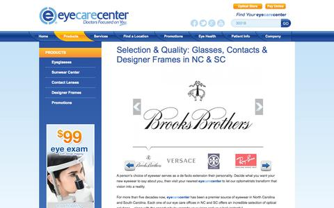 Screenshot of Products Page eyecarecenter.com - Eyewear | NC & SC Eyeglasses, Contact Lenses, Sunglasses, Frames - captured Oct. 3, 2014