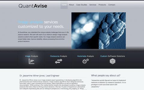 Screenshot of Home Page quantavise.com - QuantAvise | Custom Image Analysis Software and Services - captured Sept. 26, 2014