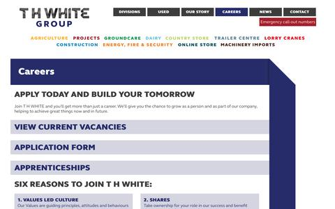 Screenshot of Jobs Page thwhite.co.uk - Careers available with T H WHITE - T H WHITE Group - captured Oct. 20, 2018
