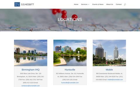 Screenshot of Locations Page ssnesbitt.com - Locations in the SouthEast | S.S. Nesbitt - captured Feb. 2, 2016