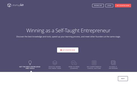Screenshot of Home Page startupkit.io - Startupkit - How to Start a Startup - captured Nov. 3, 2015