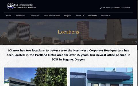Screenshot of Locations Page loiabatement.com - Locations | Environmental & Demolition Services - captured Oct. 8, 2016