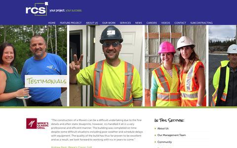 Screenshot of Testimonials Page rcsinc.ca - Testimonials Archive | rcs construction - captured Oct. 18, 2018
