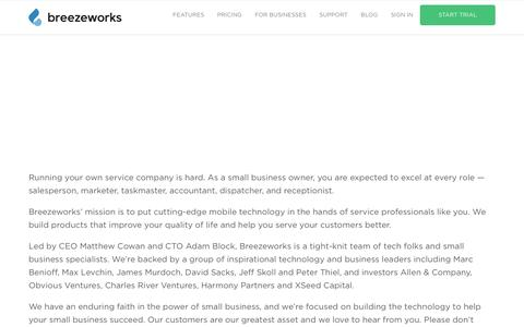 Screenshot of About Page breezeworks.com - About us | Breezeworks - captured July 3, 2016