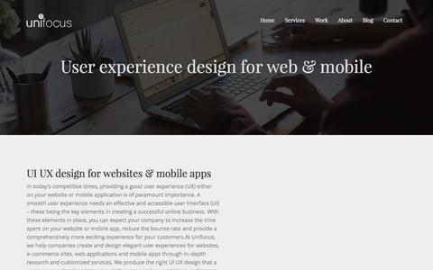 Screenshot of Services Page unifocusglobal.com - Website development, User experience design & UI-UX Agency, Bangalore - captured June 2, 2017