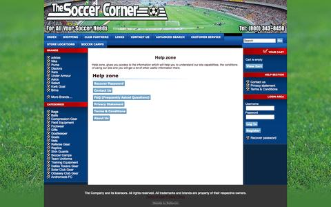 Screenshot of Support Page thesoccercorner.com - The Soccer Corner - captured Sept. 30, 2014