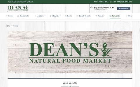 Screenshot of Jobs Page deansnaturalfoodmarket.com - Careers | New Jersey | Dean's Natural Food Market - captured Nov. 6, 2018