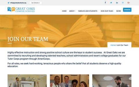 Screenshot of Signup Page greatoakscharter.org - Join Our Team - Great Oaks Charter Schools - captured Sept. 19, 2017