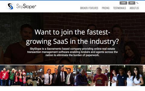 Screenshot of Jobs Page skyslope.com - Careers | SkySlope - captured Nov. 17, 2015