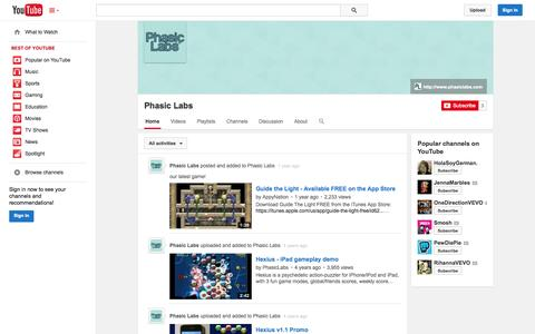 Screenshot of YouTube Page youtube.com - Phasic Labs  - YouTube - captured Oct. 22, 2014