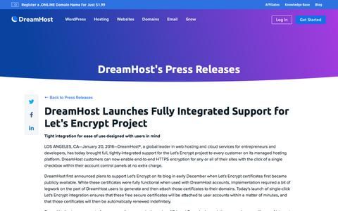 Screenshot of Press Page dreamhost.com - DreamHost Launches Fully Integrated Support for Let's Encrypt Project  – DreamHost - captured Feb. 21, 2020