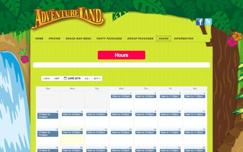 Screenshot of Hours Page adventurelandthemepark.com - Hours Of Operation | Adventureland Theme Park - captured June 13, 2016