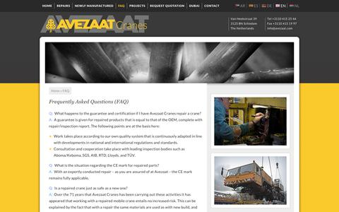 Screenshot of FAQ Page avezaat.com - Frequently Asked Questions (FAQ) - Avezaat Cranes - captured Nov. 21, 2016