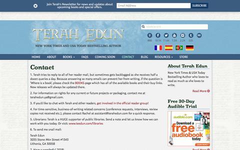 Screenshot of Contact Page terahedun.com - Contact   Terah Edun - captured July 6, 2018