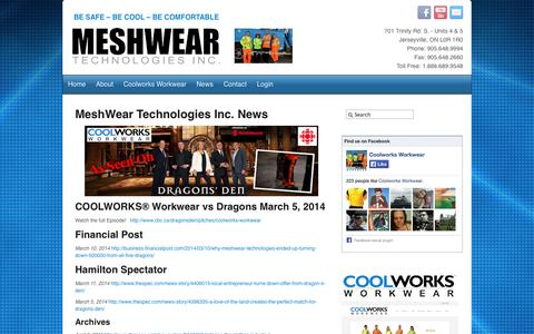 Screenshot of Press Page meshweartech.com - Workwear Trade Shows Ontario Canada - Hi Visibility Workwear - Fluorescent Safety Wear - Work Uniforms - Factory Work Clothing - All Season Work Apparel - Insulated Workwear - Meshwear Technologies Inc. News - captured Oct. 27, 2014