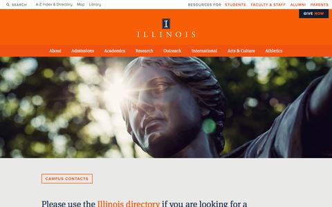 Screenshot of Contact Page illinois.edu - ILLINOIS | University of Illinois Urbana-Champaign - captured Dec. 3, 2015