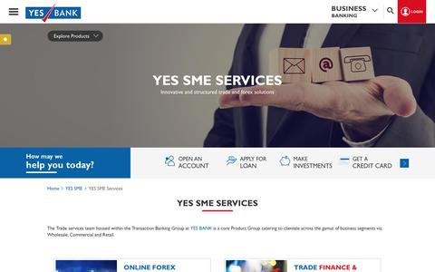 Screenshot of Services Page yesbank.in - MSME Banking Solutions | Branch Banking -YES BANK - captured July 20, 2016