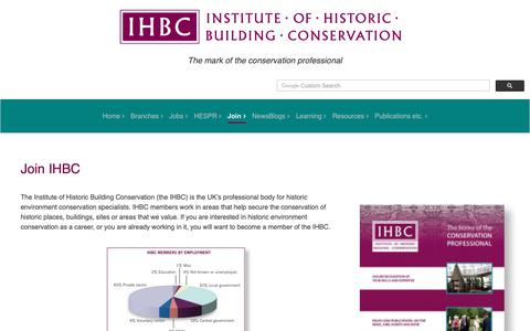 Screenshot of Signup Page ihbc.org.uk - The Institute of Historic Building Conservation - captured Oct. 21, 2018