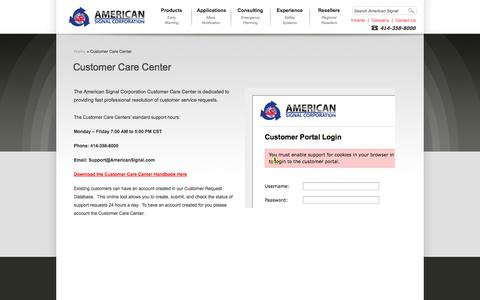 Screenshot of Support Page americansignal.com - » Customer Care Center » American Signal Corporation - captured Oct. 1, 2014