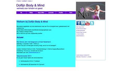Screenshot of Home Page dolfijnbm.nl - Dolfijn Body & Mind - Home - captured Oct. 7, 2014