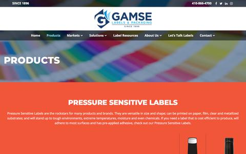 Screenshot of Products Page gamse.com - Products - Gamse Labels & Packaging - captured Sept. 24, 2018