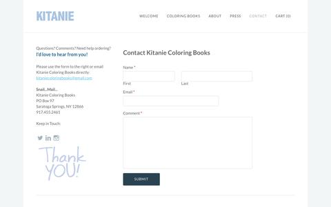 Screenshot of Contact Page kitanie.com - Contact - Kitanie Coloring Books - captured June 27, 2016