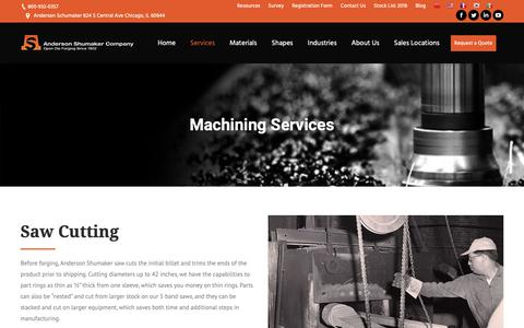 Screenshot of Services Page andersonshumaker.com - Heat Treatment - Forged Aluminum - Machined Aluminum - captured Dec. 18, 2018