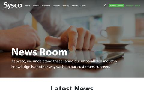Screenshot of Press Page sysco.com - News Room - captured Oct. 24, 2018