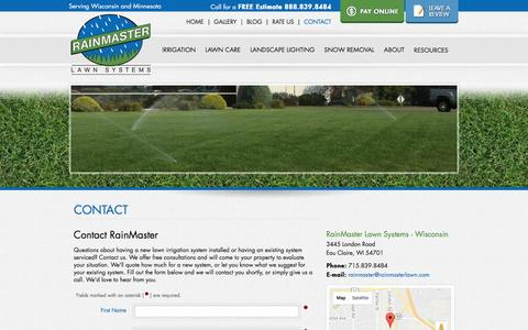 Screenshot of Contact Page rainmasterlawn.com - Eau Claire Lawn Irrigation - Contact RainMaster - Eau Claire Lawn Sprinkler - captured Dec. 20, 2016