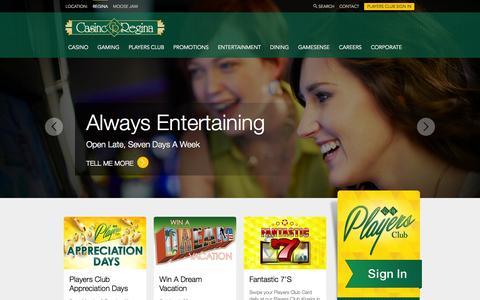 Screenshot of Home Page casinoregina.com - Casino Regina - captured Oct. 3, 2014
