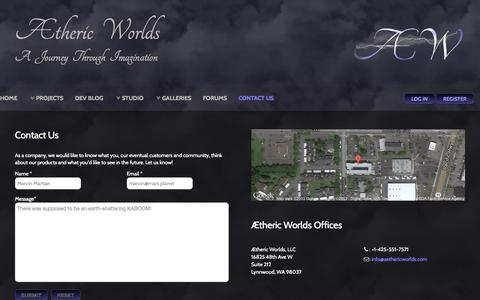 Screenshot of Contact Page aethericworlds.com - Contact Us - captured Nov. 2, 2014