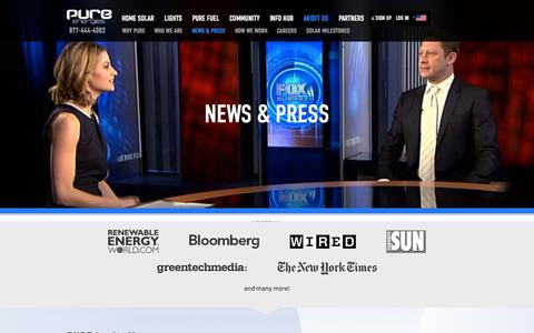 Screenshot of Press Page pureenergies.com - News & Press - Pure Energies USA - captured Oct. 10, 2014