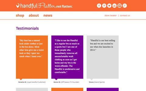 Screenshot of Testimonials Page handful.com - Testimonials - captured Sept. 30, 2014