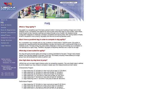 Screenshot of FAQ Page usdaa.com - USDAA - FAQ - captured Feb. 13, 2016
