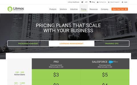 Screenshot of Pricing Page litmos.com - Pricing   Litmos LMS - captured June 9, 2017