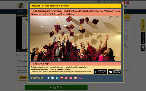 Screenshot of Jobs Page tauedu.org - TAU Current Openings | Jobs at Texila American University - captured Jan. 19, 2016