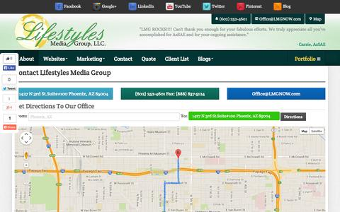 Screenshot of Contact Page Maps & Directions Page lmgnow.com - Contact Us | Lifestyles Media Group - Solutions to ALL of your Internet needs - captured Oct. 22, 2014
