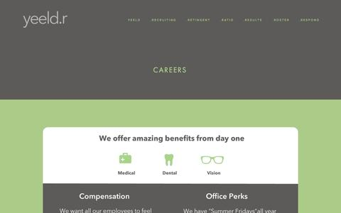 Screenshot of Jobs Page yeeldr.com - Careers — yeeldr | Scalable Recruiting for Hyper-Growth Startups - captured Oct. 25, 2014