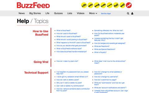Screenshot of FAQ Page buzzfeed.com - BuzzFeed Help - captured Sept. 13, 2014