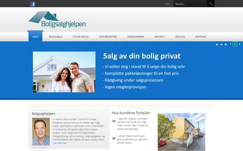 Screenshot of Home Page boligsalghjelpen.no - Boligsalghjelpen > Hjem - captured Oct. 5, 2014