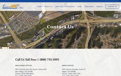 Screenshot of Contact Page enviromineinc.com - Contact Us — EnviroMINE, Inc. - captured July 14, 2016