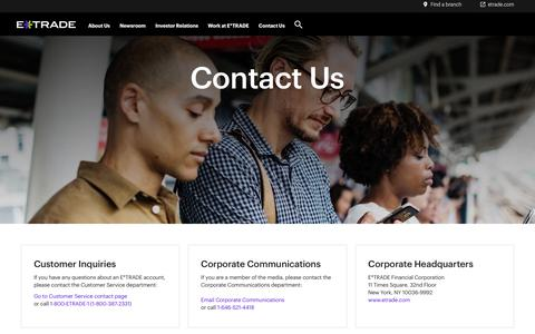 Screenshot of Contact Page etrade.com - Contact Us | E*TRADE - captured Nov. 18, 2019