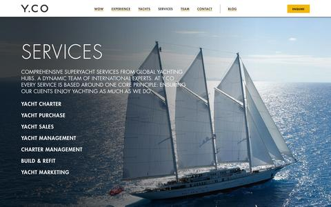 Screenshot of Services Page y.co - Superyacht Charter, Sales, Management, Build and Crew services | Y.CO - captured Sept. 19, 2014