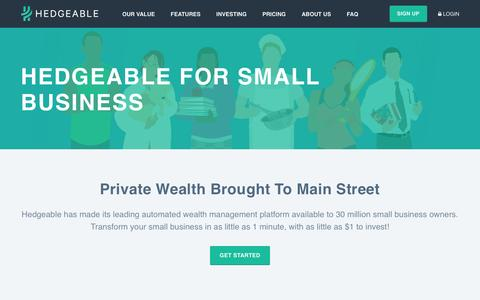Hedgeable For Small Business | Small Business Solutions