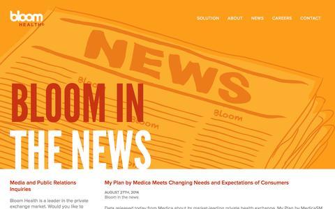Screenshot of Press Page gobloomhealth.com - Bloom Health | News - captured Sept. 13, 2014