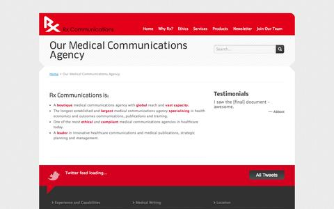 Screenshot of About Page rxcomms.com - Medical Communications | Medical Writing | Healthcare Communications - captured Oct. 7, 2014